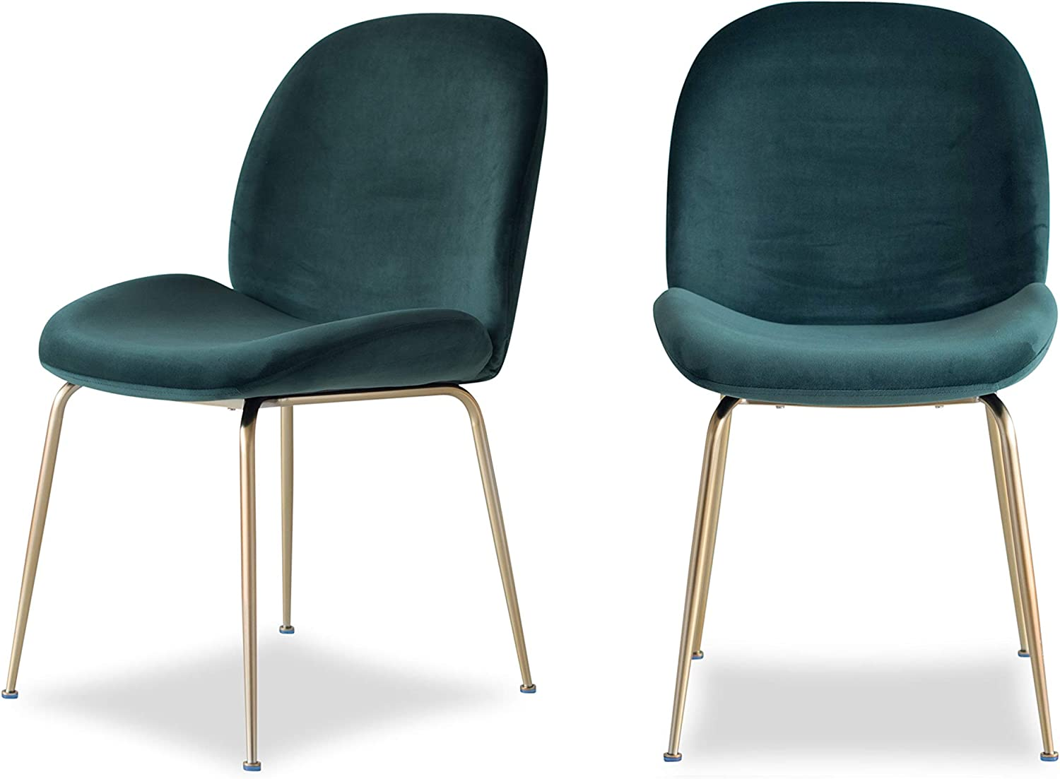 Edloe Finch Modern Velvet Dining Chairs (Set of 2) Upholstered Forest Green