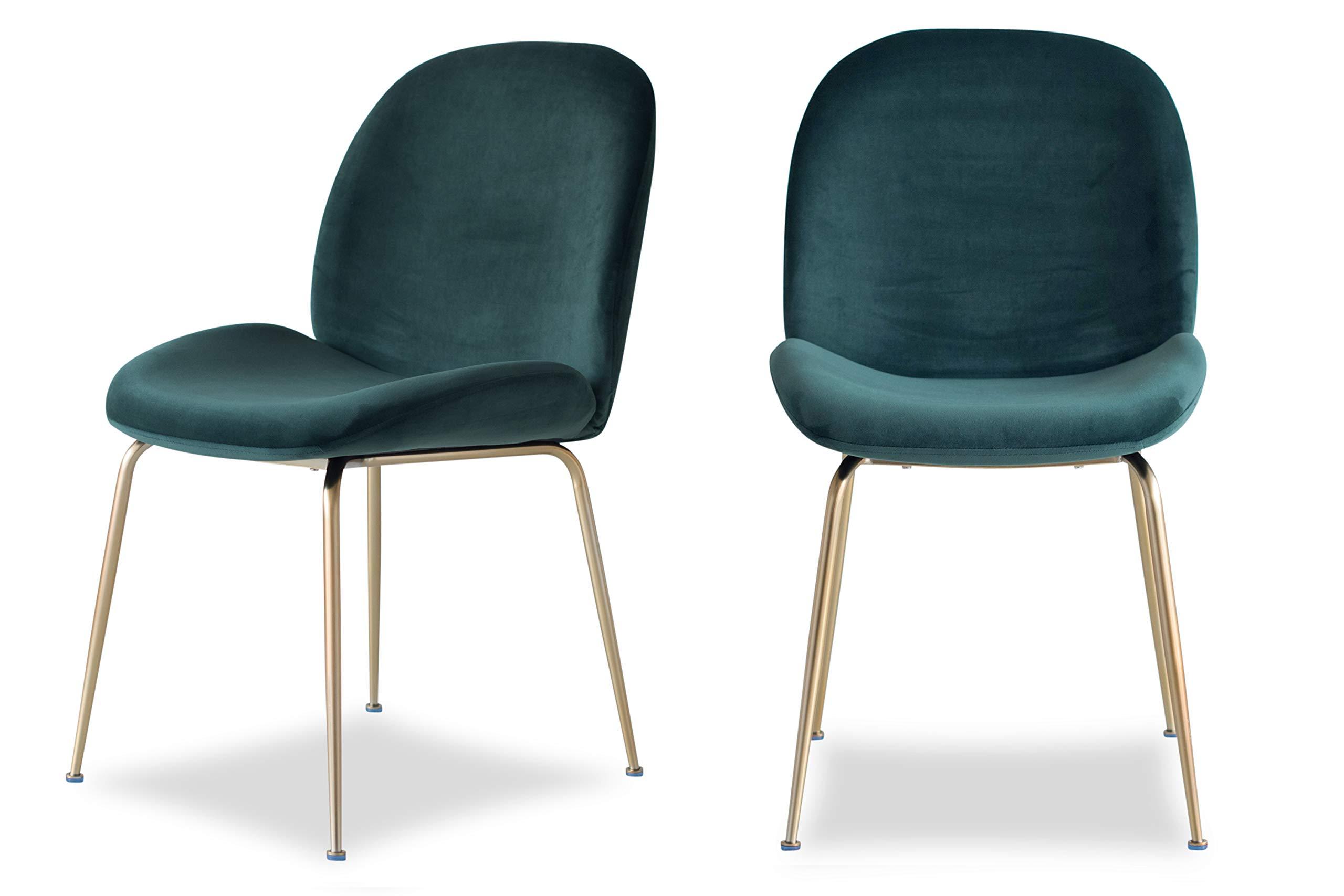 Edloe Finch Modern Velvet Dining Chairs (Set of 2) Upholstered Forest Green by Edloe Finch