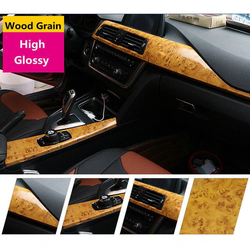 HOHO High Gloss Wood Grain Textured Vinyl Sticker Self-adhsive Contact Paper Film Decal Car Interior Home(124cmx1000cm)