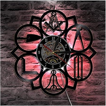 HAYEDF lhorloge Murale Record en Vinyle avec Motif Franc-ma/çon Sept Couleurs Del Horloge r/étro Lumineuse de 12 Pouces , Meilleure d/écoration de Cadeau