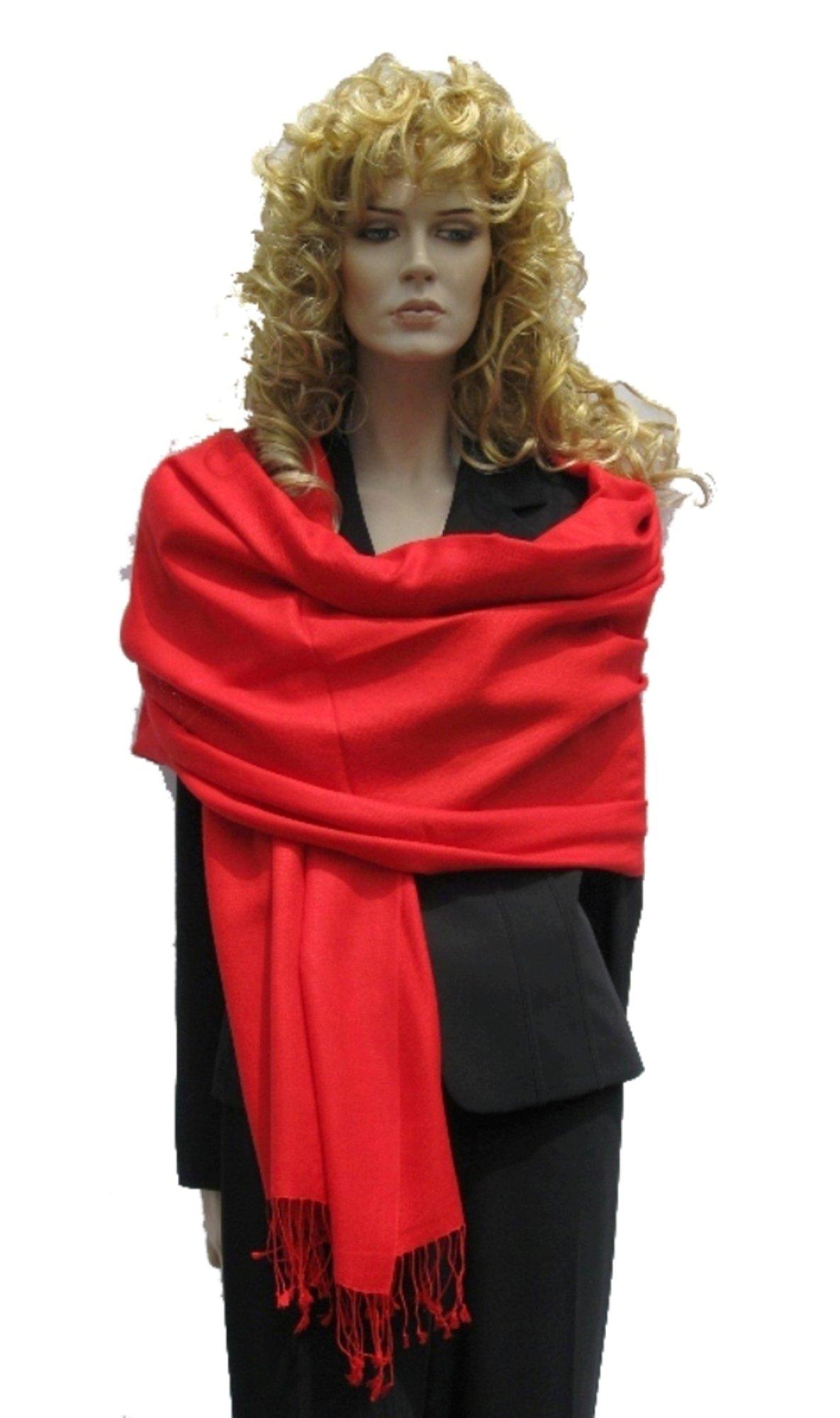 Cashmere Pashmina Group: Solid Pashmina Shawl, Scarf, Wrap & Stole (Large size) Lipstick Red