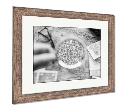 Amazon.com: Ashley Framed Prints Vintage Compass Magnifying Glass ...
