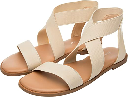 Women Genuine Leather Flats Sandals Open Toe Back Sandals Summer Leisure Shoes Women