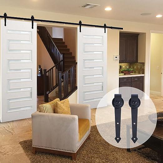 ccjh País Estilo Clásico Flecha de acero interior puerta de granero corredera Kit de puerta de madera de hardware para puertas dobles: Amazon.es: Bricolaje y herramientas