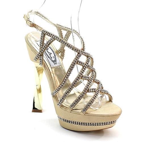 Lady Rhinestone Strap Twist High Heel Slingbacks P5117 GOLD (5.5)