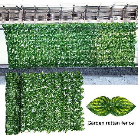 SOWLFE Cerca de seto Artificial de césped, Rollo de cribado de Hojas Artificiales, Pantalla de privacidad de Planta de Hoja de Manzana/sandía, Pantalla de balcón de Valla de jardín, Paredes Verdes: Amazon.es:
