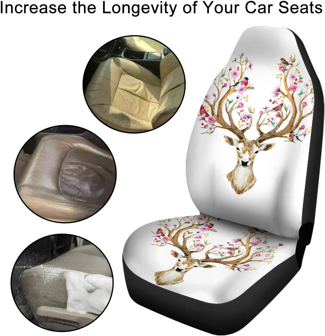 Sleepwish Front Seat Cover Set 3D Printed Universal Auto Seat Covers for Car SUV Truck or Van 2 Pcs, Red Mandala