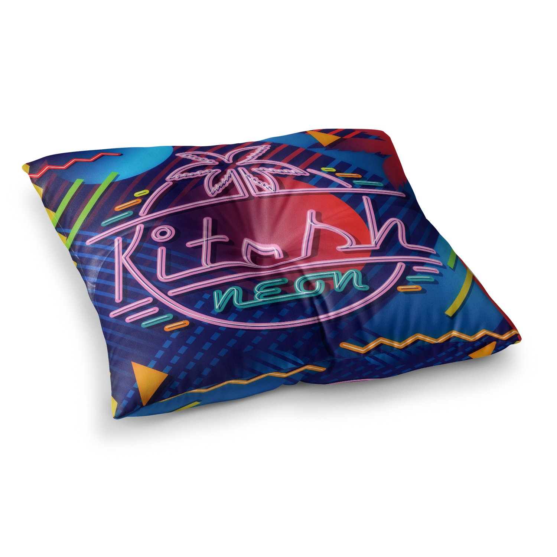 23 x 23 Square Floor Pillow Kess InHouse Roberlan Kitsch Neon Blue Pink