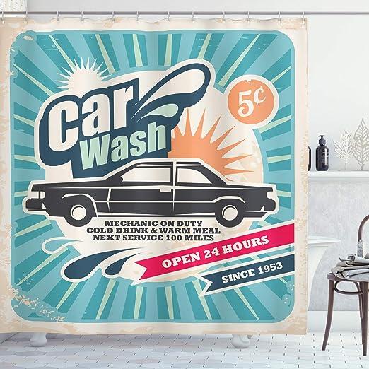 ABAKUHAUS Retro Cortina de Baño, Vintage Auto Reparación Arte ...