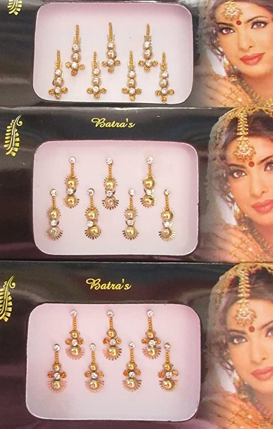 28 Gold Long Bindis Face Tattoo Self Adhesive Crystal Bindi Tikka Stickers 4 Pack