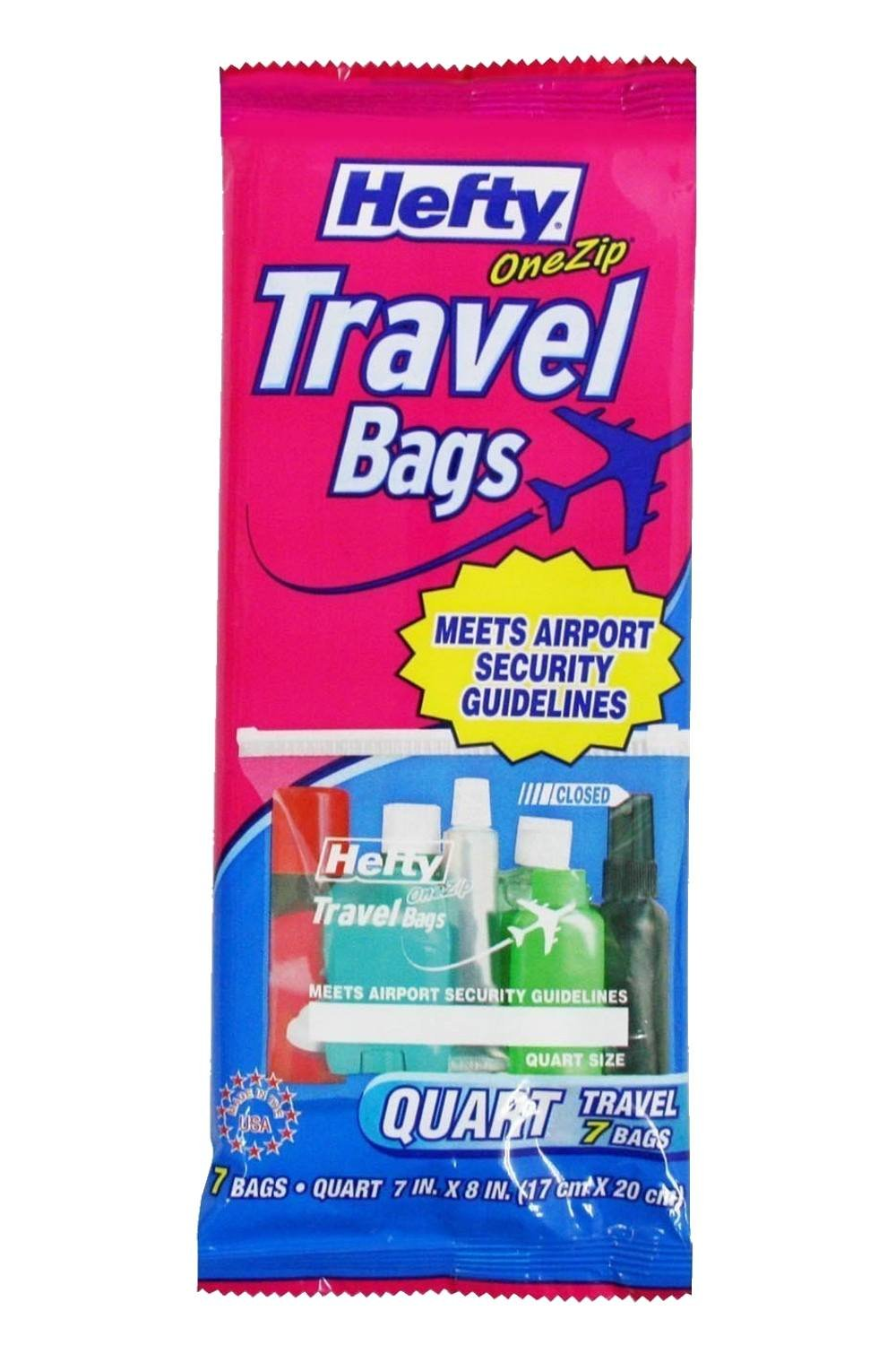 Hefty One Zip Travel Bags Quart Size PCV81207