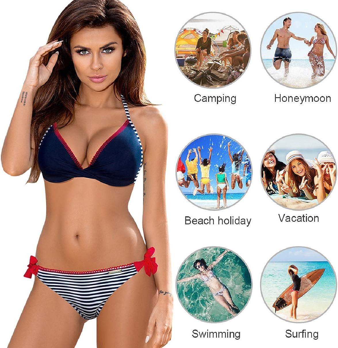 Tuopuda Costumi da Bagno Donna Due Pezzi Bikini Set Push Up Costume da Bagno Bandeau Top Reggiseno Imbottito Tankini Halter Abito Spiaggia Beachwear Monokini
