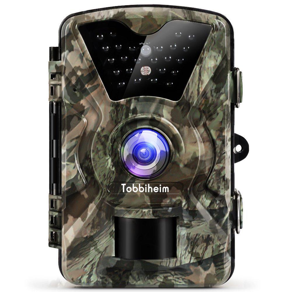 Tobbiheim Wildkamera 12 MP 1080P HD Nachtsicht Infrarot Bewegungsmelder IP68 Wasserdicht mit 2, 4 Zoll LCD Anzeige
