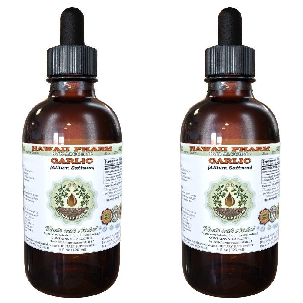 Garlic Alcohol-FREE Liquid Extract, Organic Garlic (Allium sativum) Dried Powder Glycerite 2x4 oz