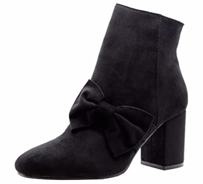 b8ba0322911 SAUTE STYLES Ladies Womens Mid High Block Heel Pointed Toe Bow Chelsea  Ankle Boots Shoes Size