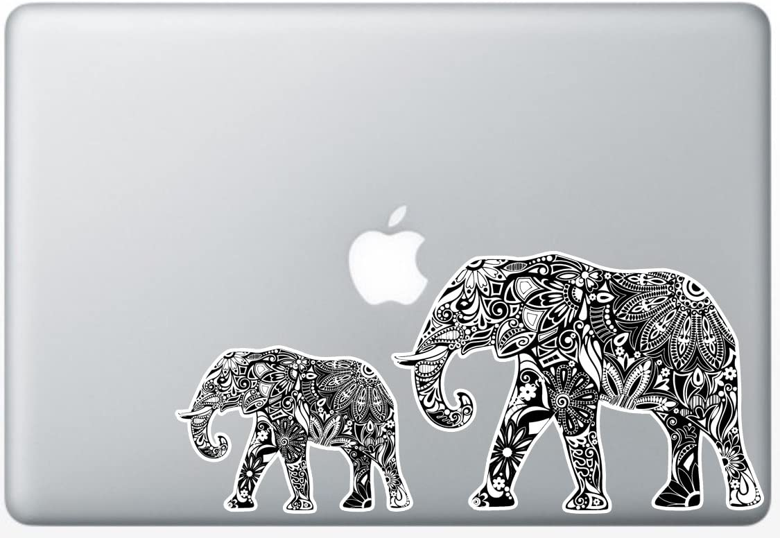 Flower Elephant Black and White - 5 Inch - Apple Macbook Laptop Decal / Sticker with Free 3 inch Black and White Elephant Decal / Sticker