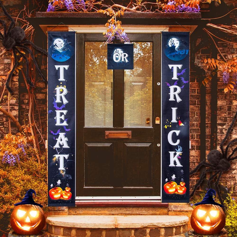 3pcs Halloween Door Couplets Front Door Banner Hanging Decoration Party Favor for Home Garden Bar Office Porch Front Door Hanging Décor