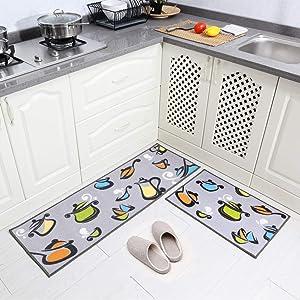 Carvapet 2 Pieces Kitchen Rug Set Non-Slip Rubber Backing Kitchen Rugs Washable Pots and Pans Design Kitchen Decoration Floor Mats (Grey 15