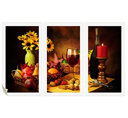 Colors Wall Art Paintings Kitchen Decor Red Wine In Goblet Fruit Poster Nuts Strawberry Corkscrew Yellow