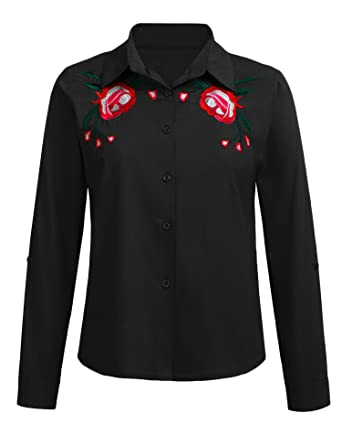 94dd9712 SoTeer Women's 3/4 Sleeve Button Down Collared Blouse Shirt at ...