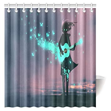 InterestPrint Music Shower Curtain, Girl Playing Guitar With A Blue Light  And Glowing Butterflies Print