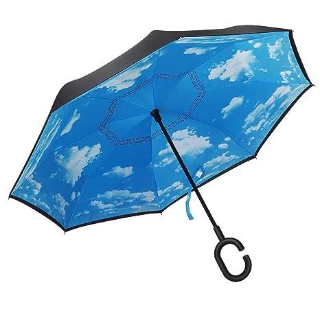 NWSS inversa plegable doble capa invertida paraguas y del uno mismo pie Adentro hacia afuera protección