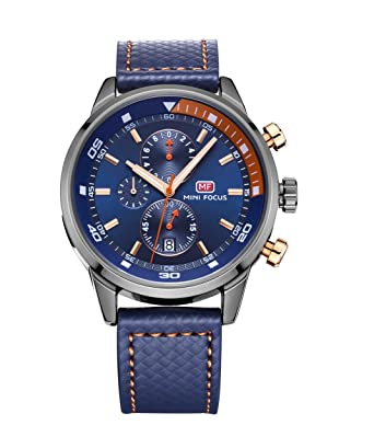 4335e61398 Amazon   MINI FOCUS 腕時計 メンズ 防水 安い アナログ おしゃれ時計 ...