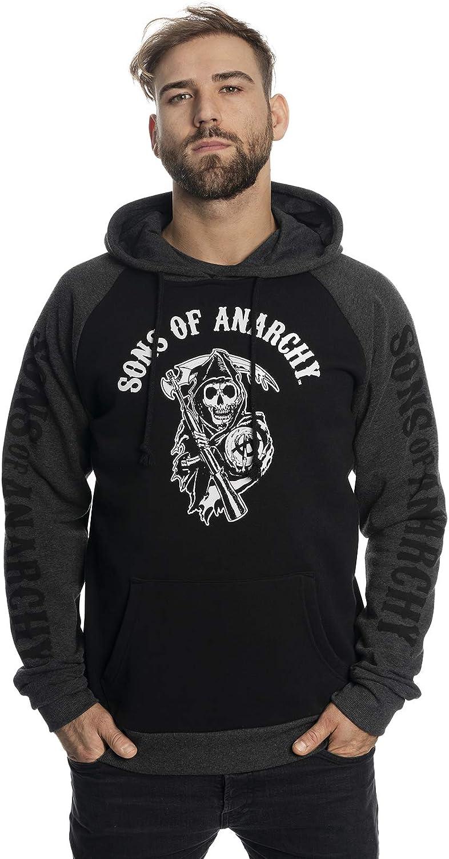 Sons of Anarchy Reaper Raglan herensweater met capuchon zwart/grijs gemêleerd