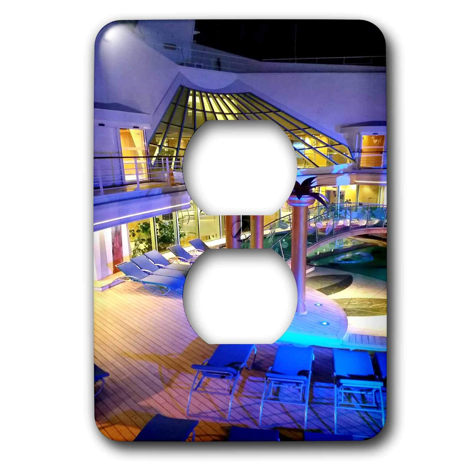 3dRose Lens Art by Florene - Cruise Ship Sites - Image of Adult Pool Area With Spa - Light Switch Covers - 2 plug outlet cover (lsp_291436_6)