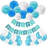 Recosis Bandiera Buon Compleanno Striscione con 20 Pezzi Festa Palloncini e 12 Pezzi Pon Pons Fiori di Carta per la Festa di Compleanno, Blu