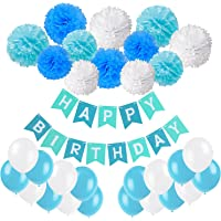 Happy Birthday Banner, Recosis Birthday Bunting Paper Garland with 12pcs Tissue Paper Pom Poms and 20pcs Balloons for Birthday Party Decorations - Blue, Sky Blue and White