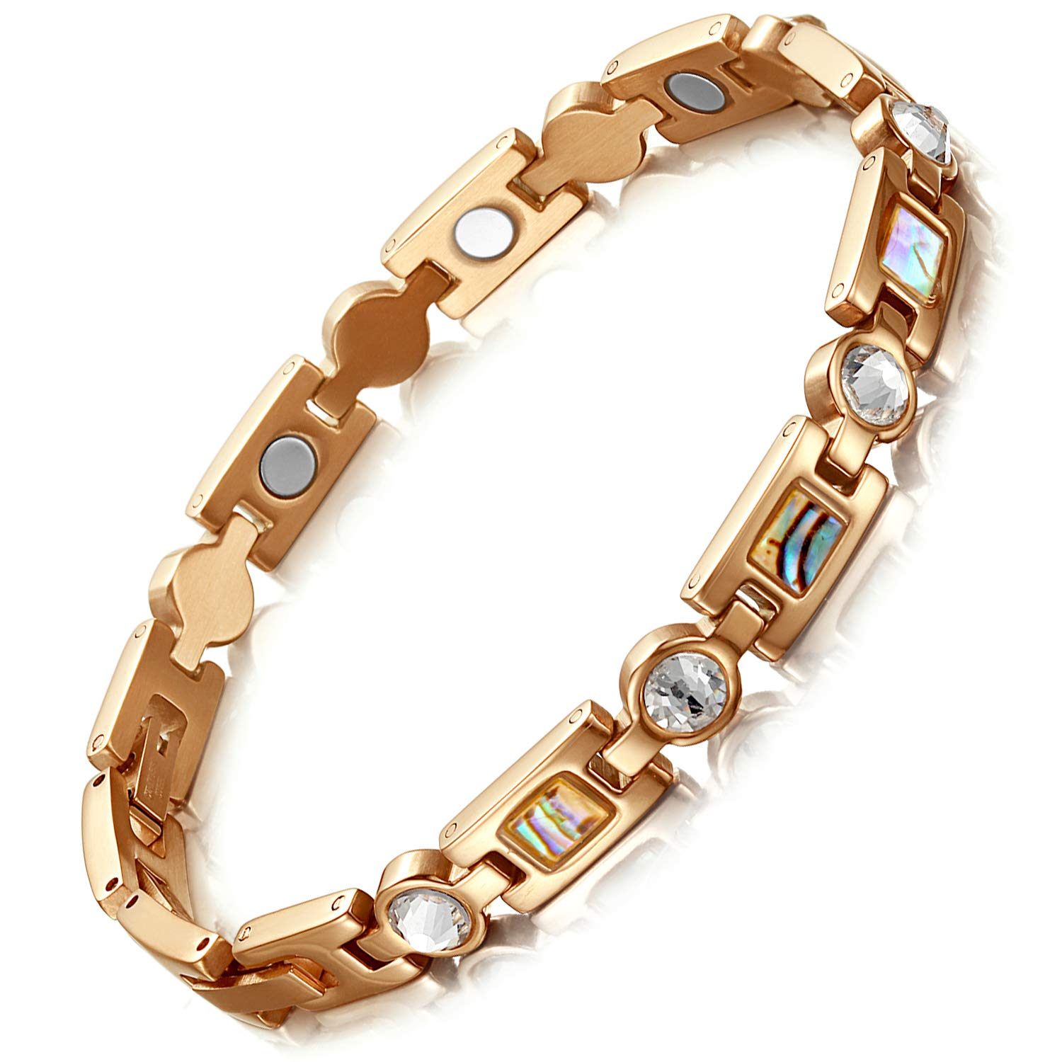 Rainso Titanium Stainless Steel Rhinestone Golf Magnetic Therapy Bracelets for Women with 3 Smart Buckle (Rose Gold)