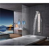 Elbe Colonne de douche Panneau de douche 6 jets de massage 4 modes de douche contrôlé par 4 régulateurs séparés Colonne de douche thermostatique Colonne de douche hydromassante_RNP-R01