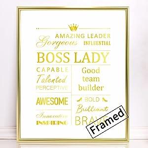 Boss Lady Office Decorations Gift for Women,Office Desk Wall Gold Foil Art Sign with Aluminum Frame - Girl Women Boss Office Desk Accessories (Gold, 8