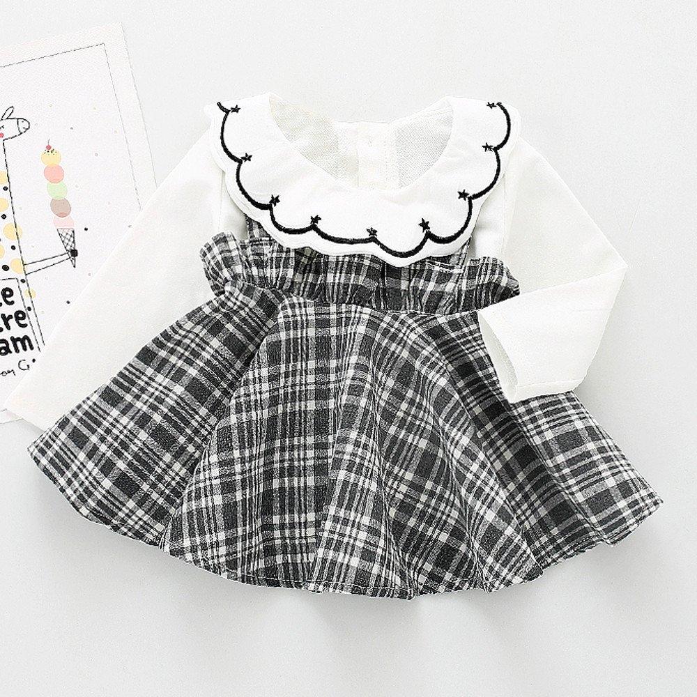 Memela Baby Girls Clothes,2 Pieces Layette Plaid Shirt Dress Overalls Set 0-24 Months Spring//Summer