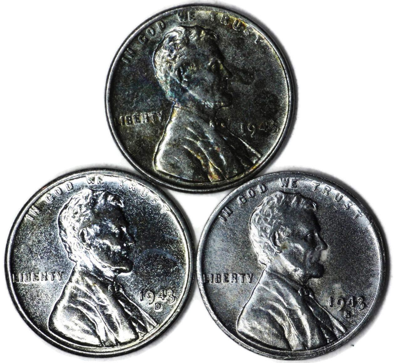 CIRCULATED GRADE GOOD VERY GOOD 3 COIN MERCURY DIME SET 1943 P-D-S