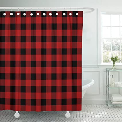 Image Unavailable Not Available For Color TOMPOP Shower Curtain Red Black