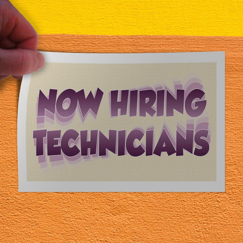 69inx46in One Sticker Decal Sticker Multiple Sizes Now Hiring Technicians Business Now Hiring Technician Outdoor Store Sign White