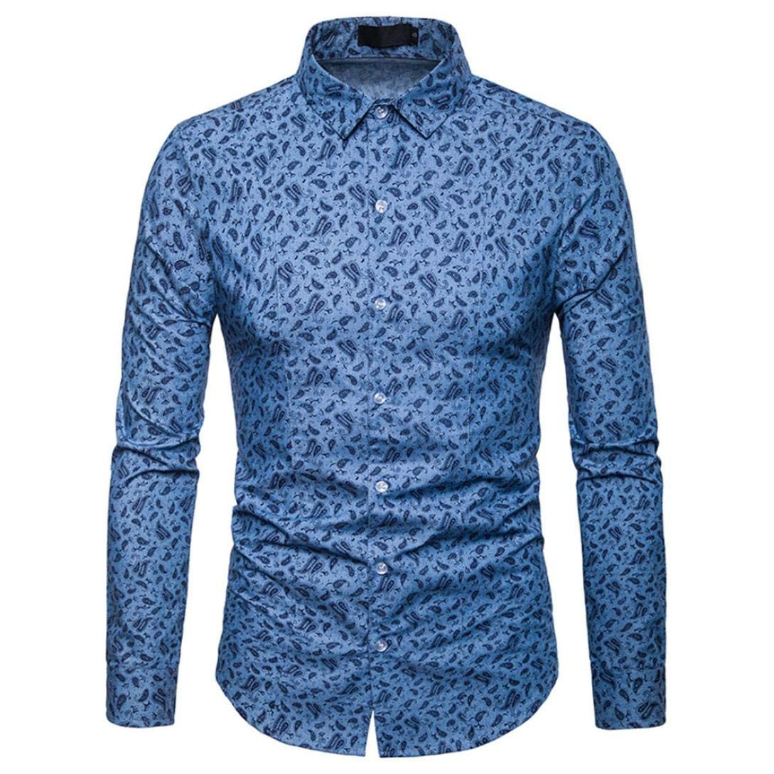 Dreamyth Men/'s Long Sleeve Shirt Autumn Winter Luxury Casual Paisley Print Top Blouse