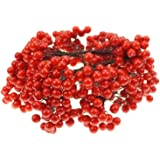 Bilipala Artificial Red Berries Stamens Decor for DIY Garland and Holiday Ornaments, 200 Stems, 400 Counts