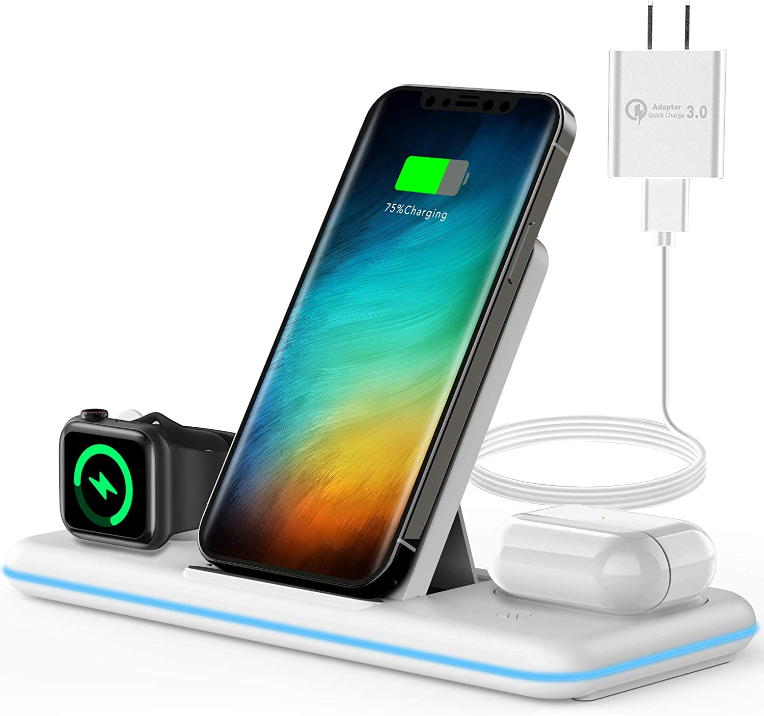 Olunnvi 3 in 1 Charging Station, Wireless Charger Dock for iPhone, AirPods, Apple Watch Series Se 6 5 4 3 2 1, with QC3.0 Power Adapter for iPhone 12, 12 pro max, 11 Pro max, Xs max, Xr, X