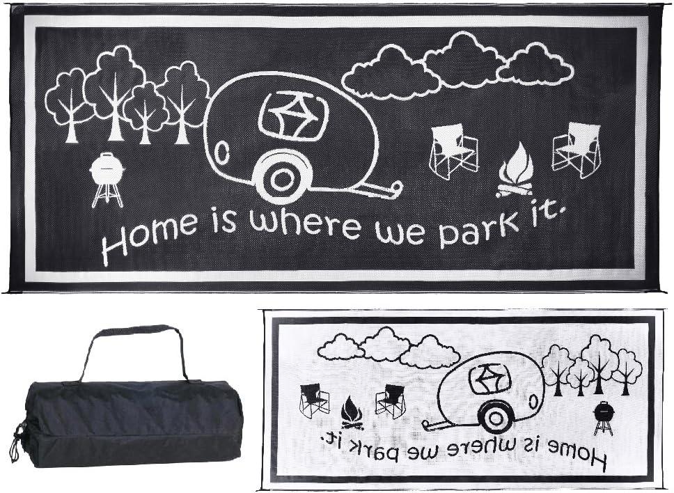 Stylish Camping RH8181 Black/White 8-Feet x 18-Feet RV Home Mat