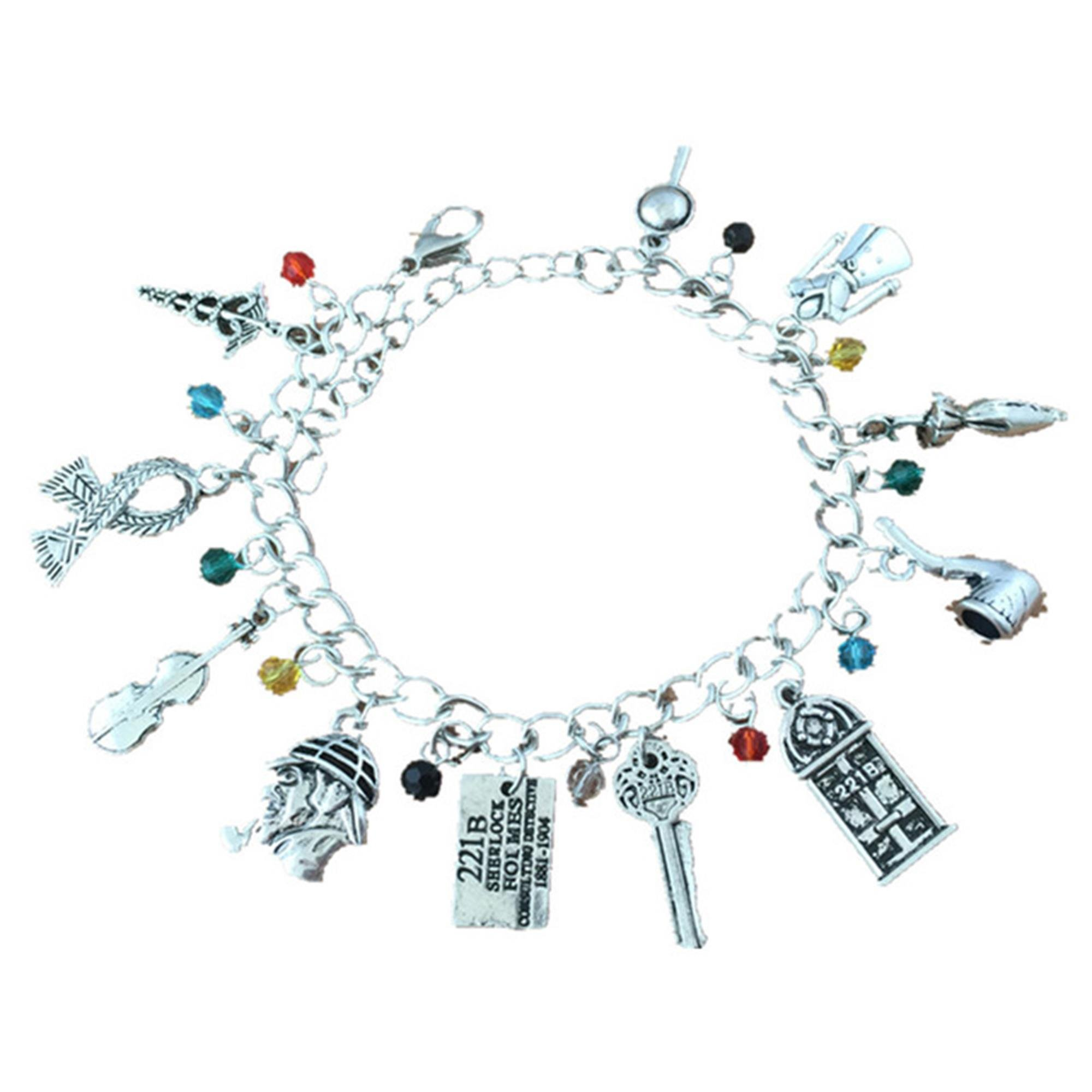 J&C Family Owned Sherlock Holmes 11 Charms Lobster Clasp Bracelet in Gift Box