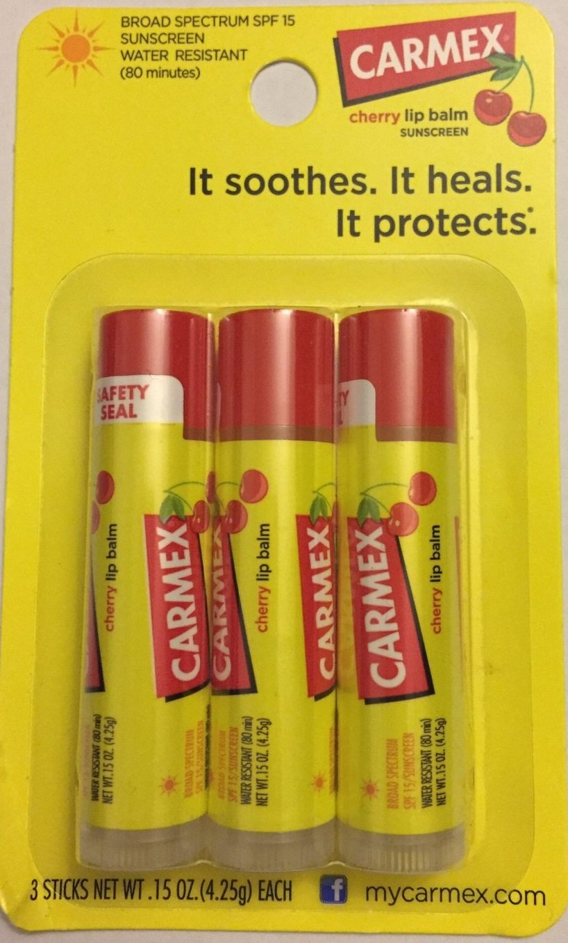 Carmex Lip Balm - Cherry With SPF 15 - Water Resistant (80 Minutes) - 3 Sticks Per Package - Pack of 4 by Carmex: Amazon.es: Belleza