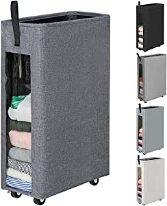 Chrislley 62L Slim Laundry Hamper with Wheels Collapsible Laundry Basket with Clear Window Rolling Foldable Laundry Bin with Handles Dirty Clothes Storage Hamper (Upgrade Grey)