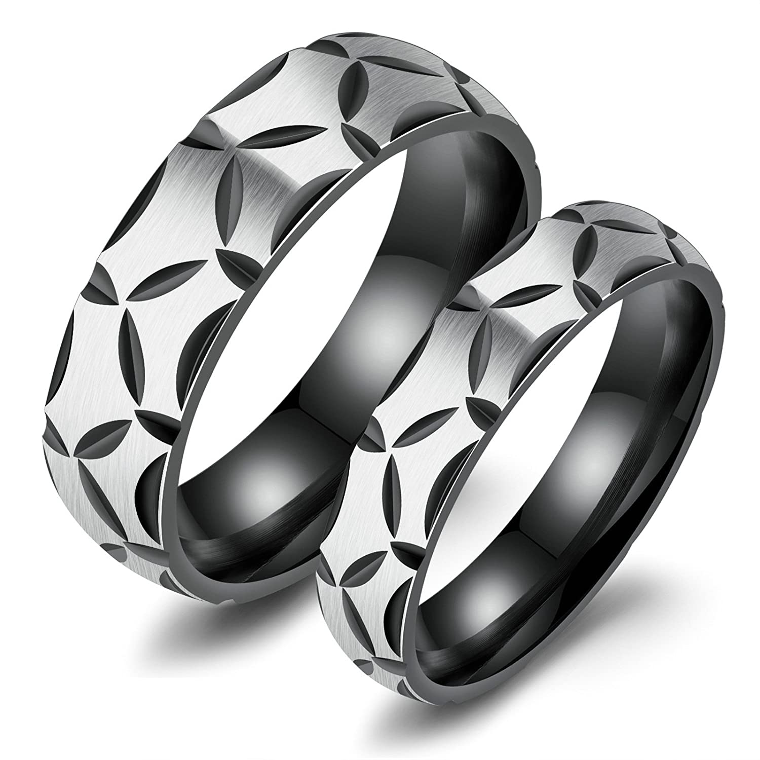 Aooaz 2 Pcs Friendship Rings Stainless Steel Rings for Couples Black Rings with Free Engraving Novelty Jewelry Gift