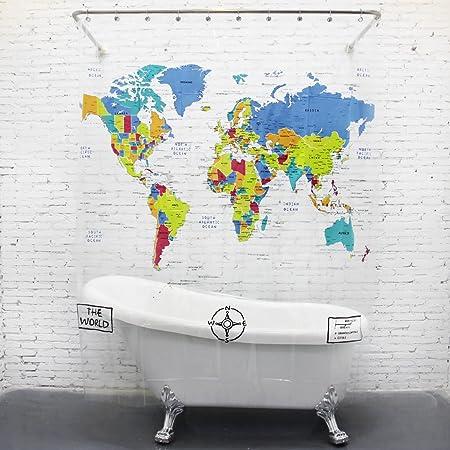 Dopobo world map pvc transparent shower curtain bathroom bath extra dopobo world map pvc transparent shower curtain bathroom bath extra long with hooks wide 180cm x gumiabroncs Choice Image