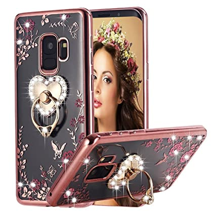 finest selection 36901 1f19a Loxxo® Back Cover for Samsung J8 Bling Shiny Diamond Rhinestone with 360  Degree Rotating Heart Ring Stand TPU Case Cover for Samsung Galaxy J8 (Rose  ...