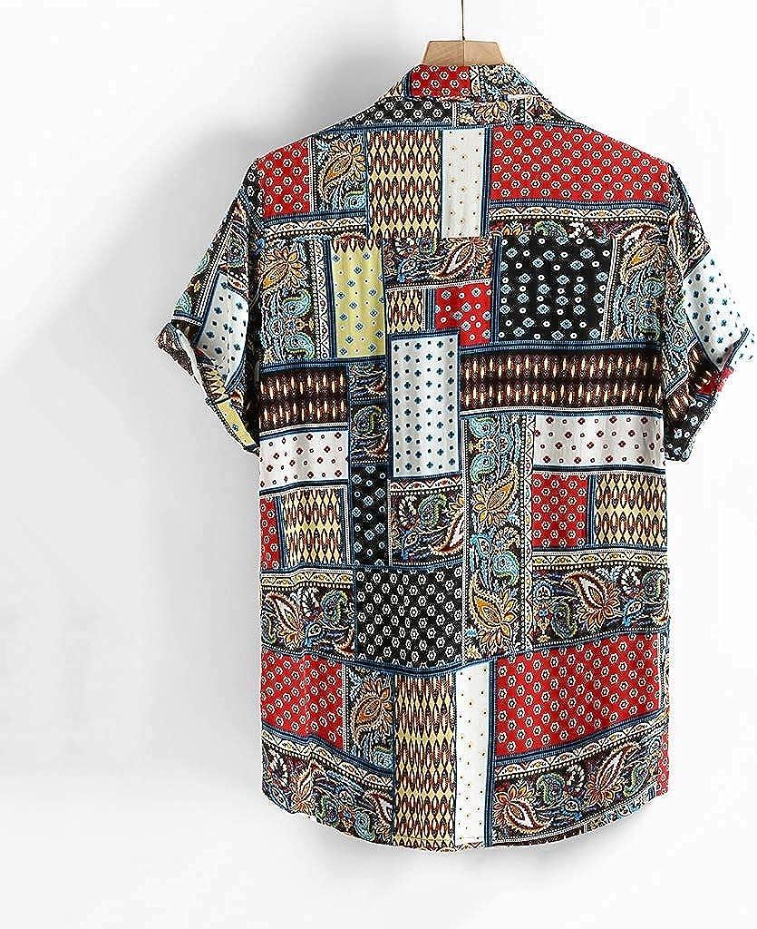 refulgence Shirts Mens Graffiti Printed Aloha Beach Party Holiday Camp Casual Short Sleeve Tops Blouse