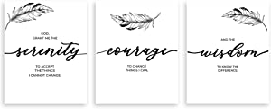 """3 Serenity Prayer Wall Décor (11"""" x 14"""") ????UNFRAMED ????- The Serenity Prayer Wall Typography Wall Art - 3 Serenity Prayer Plaque Décor For Office, Living Room & Bed Room"""